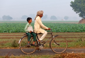 Father & son riding bike to school